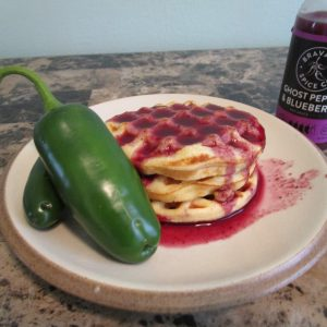 Final Product of Corn Waffles with Ghost Pepper Blueberry Hot Sauce