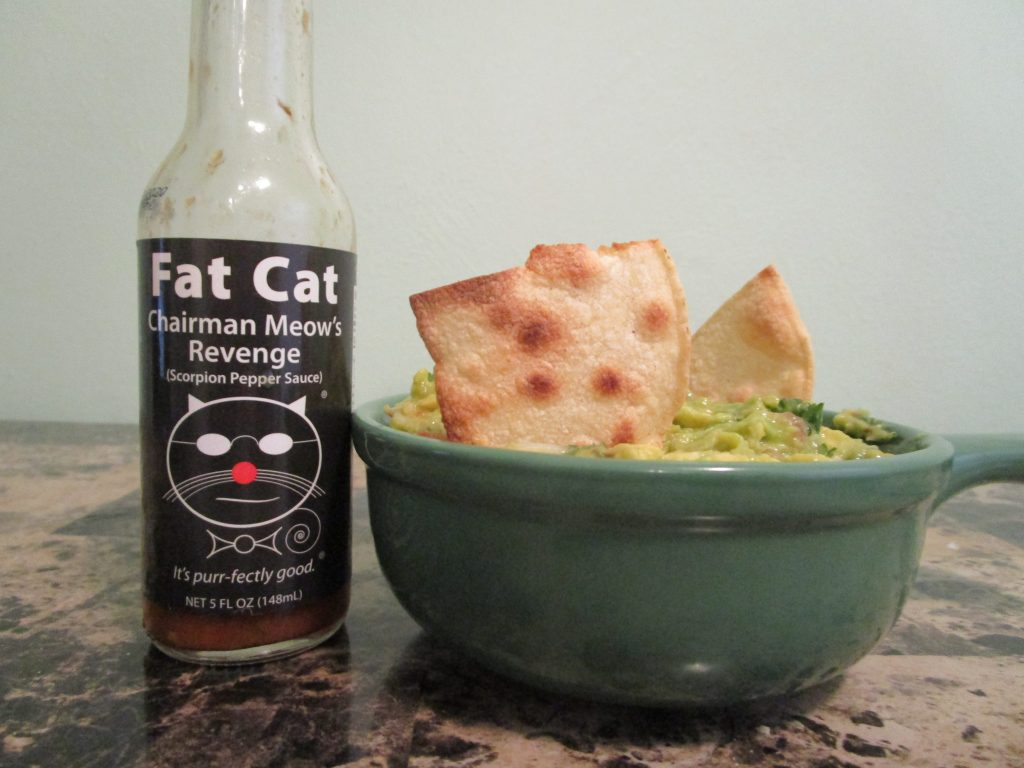 Guacamole with Fat Cat Scorpion Pepper Sauce