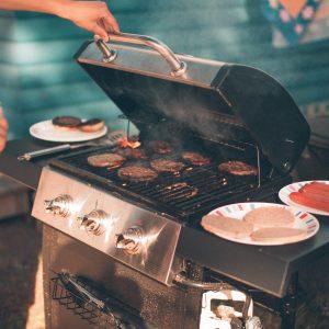 grill, meats, gas, backyard, grilling, neighbor
